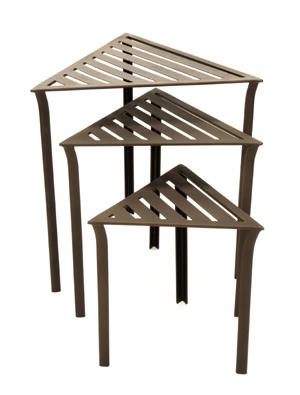 Achla WTN-01 Triangular Nesting Tables - Bronze- set of 3