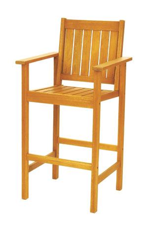 Achla OFC-06 Eucalyptus Chair Outdoor Bar Stool - Natural Oiled