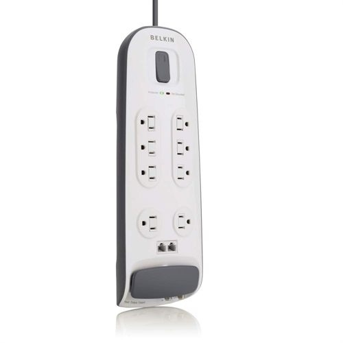 Belkin 8-Outlet Surge Protector With Telephone Protection - White 6 Power Cord