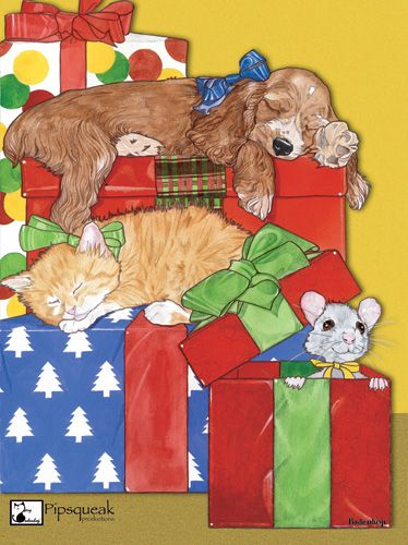 Pipsqueak Productions C403 Mix Dog With Cat Holiday Boxed Cards