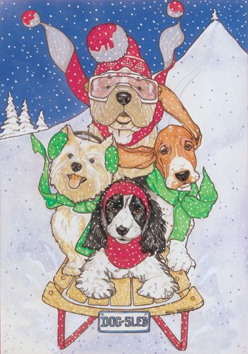 Pipsqueak Productions C416 Mix Dog  Holiday Boxed Cards
