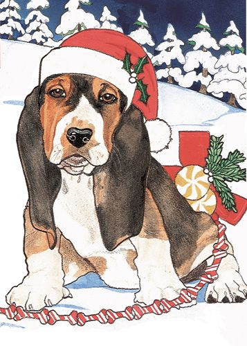 Pipsqueak Productions C444 Basset Holiday Boxed Cards