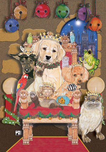 Pipsqueak Productions C488 Mix Dog With Cat Holiday Boxed Cards