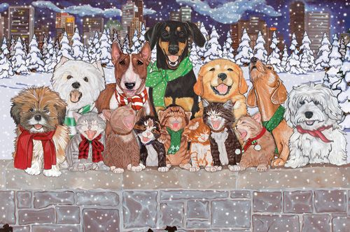 Pipsqueak Productions C514 Mix Dog With Cat Holiday Boxed Cards