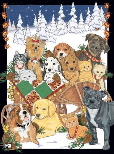 Pipsqueak Productions C515 Mix Dog With Cat Holiday Boxed Cards