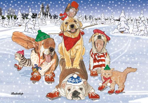 Pipsqueak Productions C521 Mix Dog With Cat Holiday Boxed Cards