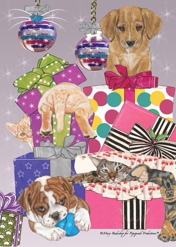 Pipsqueak Productions C533 Mix Dog With Cat Holiday Boxed Cards