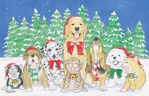 Pipsqueak Productions C844 Mix Dog With Cat Holiday Boxed Cards