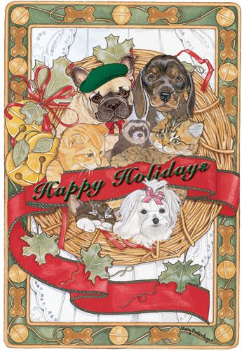 Pipsqueak Productions C854 Mix Dog With Cat Holiday Boxed Cards