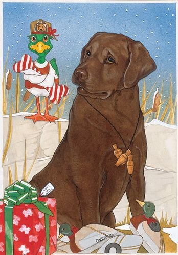 Pipsqueak Productions C923 Labrador Chocolate Holiday Boxed Cards