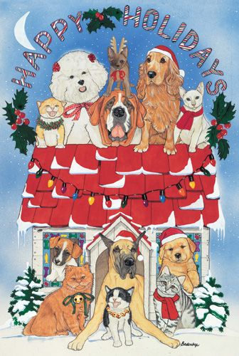 Pipsqueak Productions C959 Mix Dog With Cat Holiday Boxed Cards
