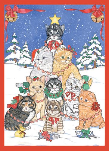 Pipsqueak Productions C978 Cat Holiday Boxed Cards