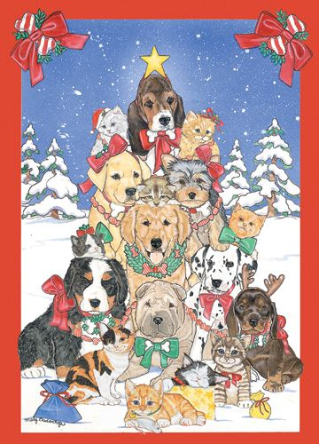 Pipsqueak Productions C979 Mix Dog With Cat Holiday Boxed Cards