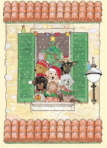 Pipsqueak Productions C993 Mix Dog With Cat Holiday Boxed Cards