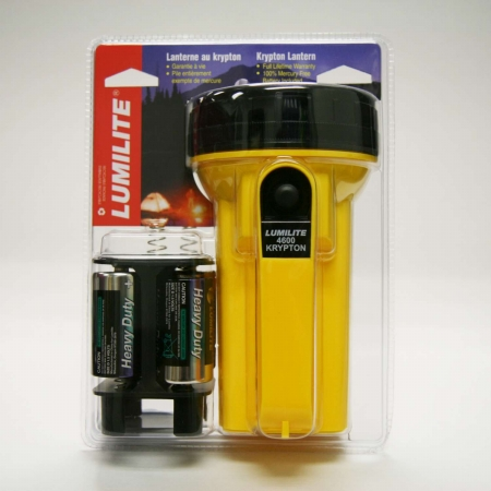 Lumilite 4650 Industrial 6volt 4D Krypton Lantern With D Cell Adaptor Quarter Mile Beam Battery Included Pack of 3
