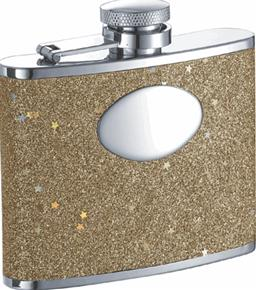 Visol VF1104 Supernova Gold Glitter Stainless Steel 4oz Hip Flask