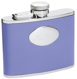 Visol VF1108 Blossom Lavender Leather Stainless Steel 4oz Hip Flask