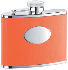 Visol VF1109 Sunbeam Orange Leather Stainless Steel 4oz Hip Flask