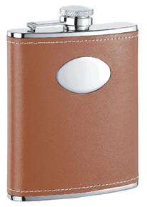 Visol VF1118 Hound Leather Stainless Steel 6oz Hip Flask