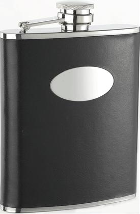 Visol VF1129 Eclipse Black Leather Stainless Steel 18oz Hip Flask