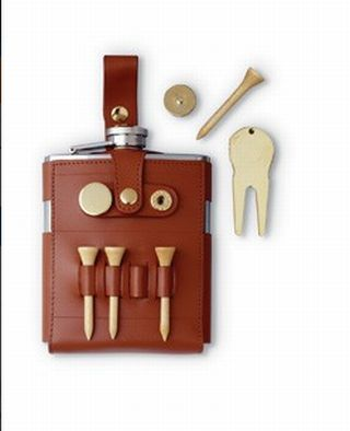 Visol VF1137 GB 6oz Flask with Brown Leather Wrap and Golf Tools