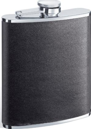 Visol VF1142 Ano Black Leather Stainless Steel 6oz Hip Flask