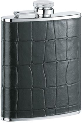 Visol VF1152 Beau Monde Black Crocodile Leather Stainless Steel 6oz Hip Flask