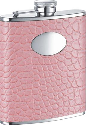 Visol VF1179 Annabella Light Pink Synthetic Leather Stainless Steel 6oz Hip Flask