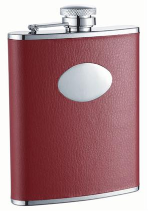 Visol VF1201 Sienna Red Leather Stainless Steel 6oz Hip Flask