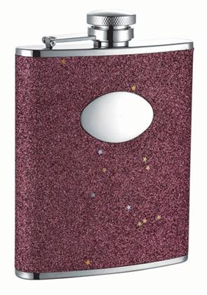 Visol VF1208 Carina Red Glitter Stainless Steel 6oz Hip Flask