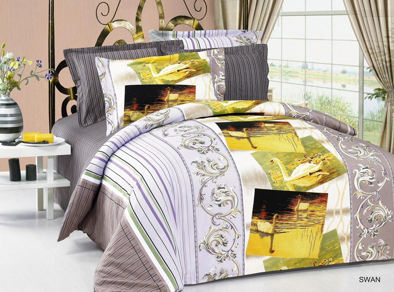 AR214Q Arya FullQueen 6 Pieces Duvet Cover Bedding Set Swan