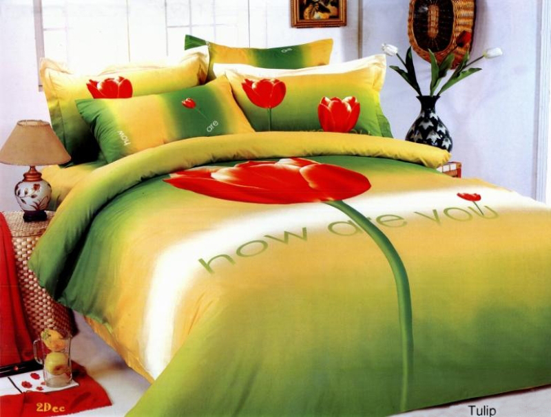 LE06T Le Vele Twin 4 Pieces Duvet Cover Bedding Set Tulip