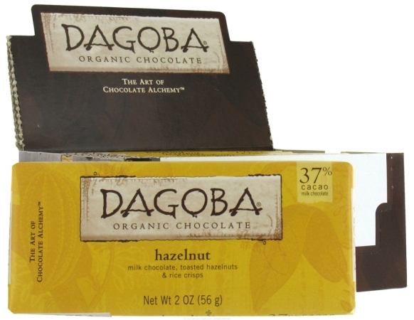 Dagoba Organic Chocolate 25048 Organic Hazelnut Milk Chocolate Bar 37 Percent