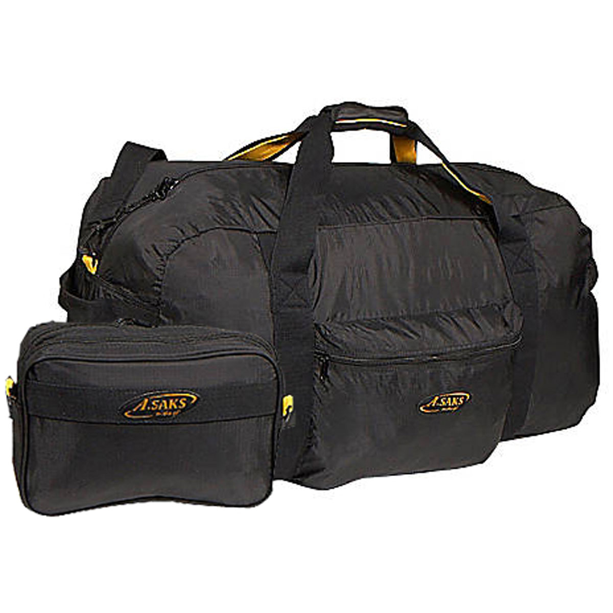 "Image of A. Saks 30"" Lightweight Folding Duffel Black - A. Saks Packable Bags"