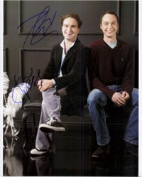 Powers Collectibles 16682 Signed Big Bang Theory The Jim Parsons Johnny Galecki 8x10 By Jim Parsons and Johnny Galecki Photo