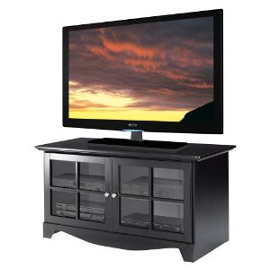 Nexera 100406 49'' TV Console with 2 Glass Doors in Black Lacquer