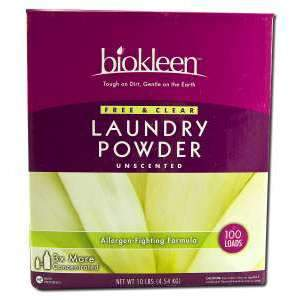 Biokleen 717256000431 Free Clear Laundry Powder Allergen-Fighting Formula - 10-Pound Boxes - Pack Of 4