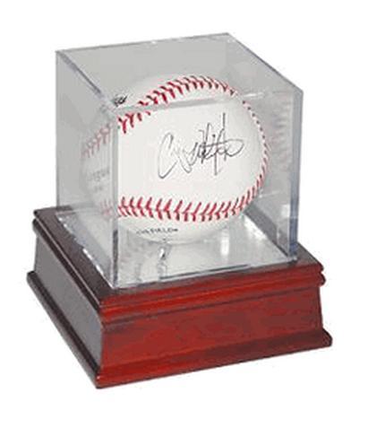 BQ-BASEBALL-GS-UV-Woodbase 11 BallQube Wood Base UV Protected Baseball Display Case-Holder Grand Stand
