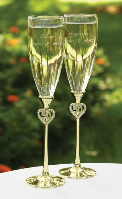 Jeweled 50th Anniversary Flutes