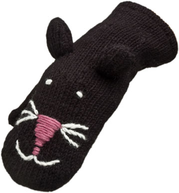 Nirvanna Designs MT Catblack K Black Cat Mittens Kids