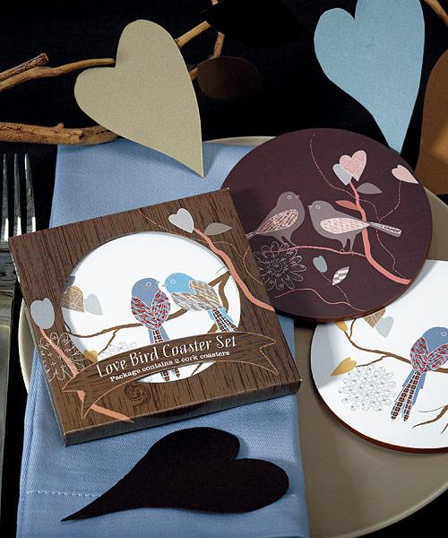Wedding Star 9097 Love Birds Cork Back Coaster Set in Gift Packaging