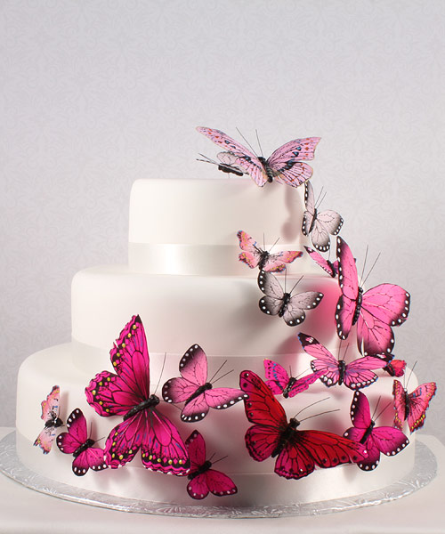 Wedding Star 9152-06 Beautiful Butterfly Cake Sets- Blushing Glamour in Pink