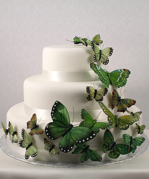 Wedding Star 9152-22 Beautiful Butterfly Cake Sets- Garden Charm Green