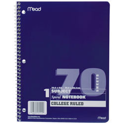 Mead Paper Company 05512 Notebook College Ruled 70 Sheet