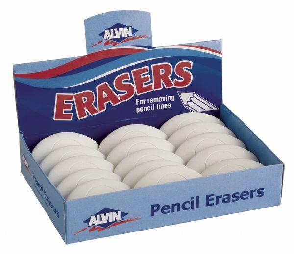 Alvin 1050AE White Vinyl Eraser  Oval 15pcs