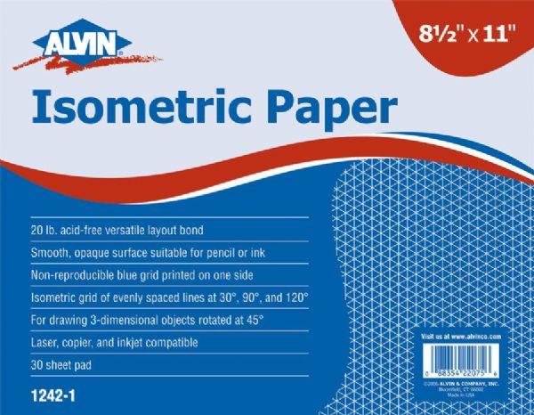 Alvin 1242-5 Isometric Paper 8.5x11-100shts