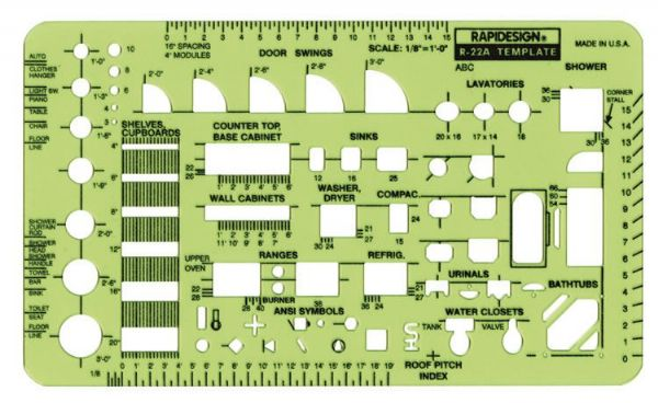"Alvin & Company Alvin&Co 22RA 3-1/4"" Template Home Plan Fixtures Scale at Sears.com"