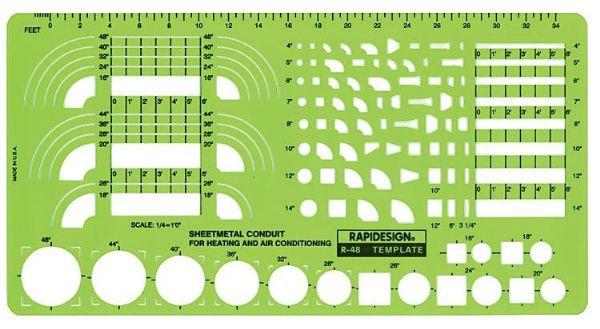 Alvin 48R Template Sheet Metal Conduit ALV5442