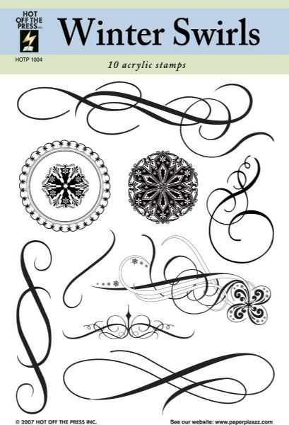 Alvin HOTP1004 Clear Stamps Winter Swirls