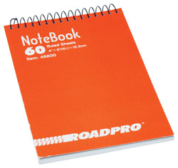 Roadpro 46600 Memo Book 4 X 6 Top Opening